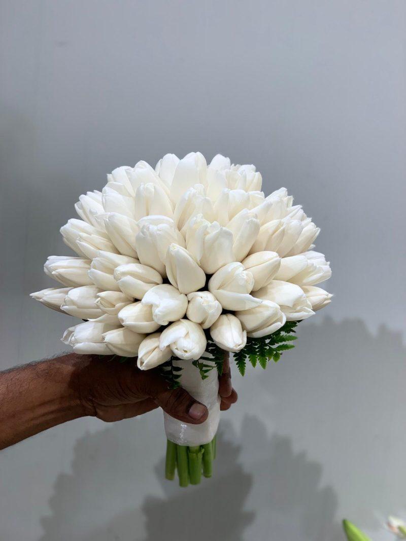 White tulips bridal bouquet