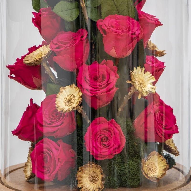 Bright pink preserved rose design