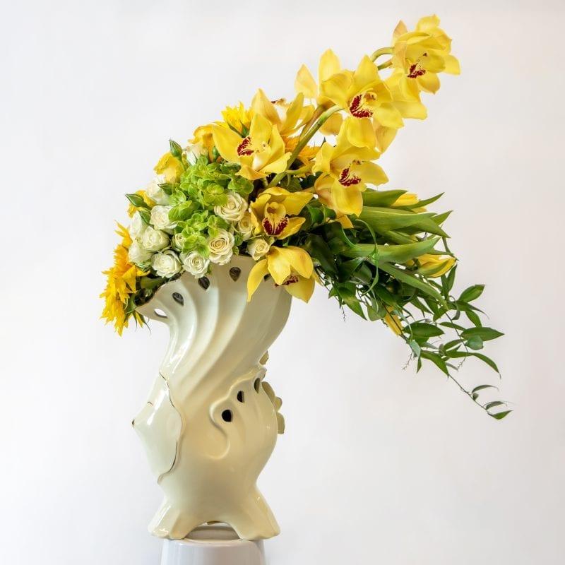 Full flower arrangement in yellow