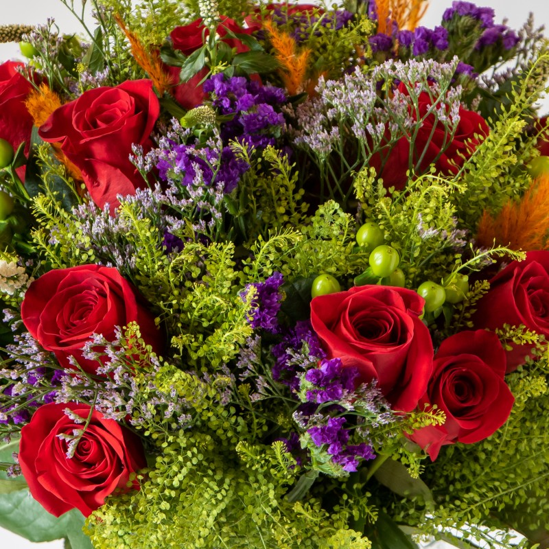 close up of red, purple and orange bouquet