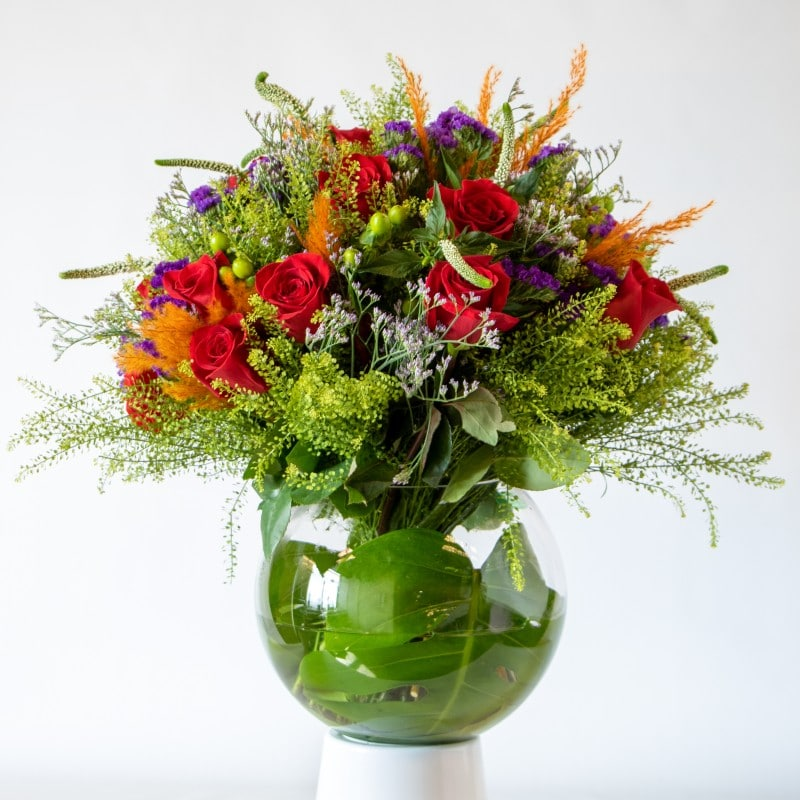 Red and orange flower bouquet