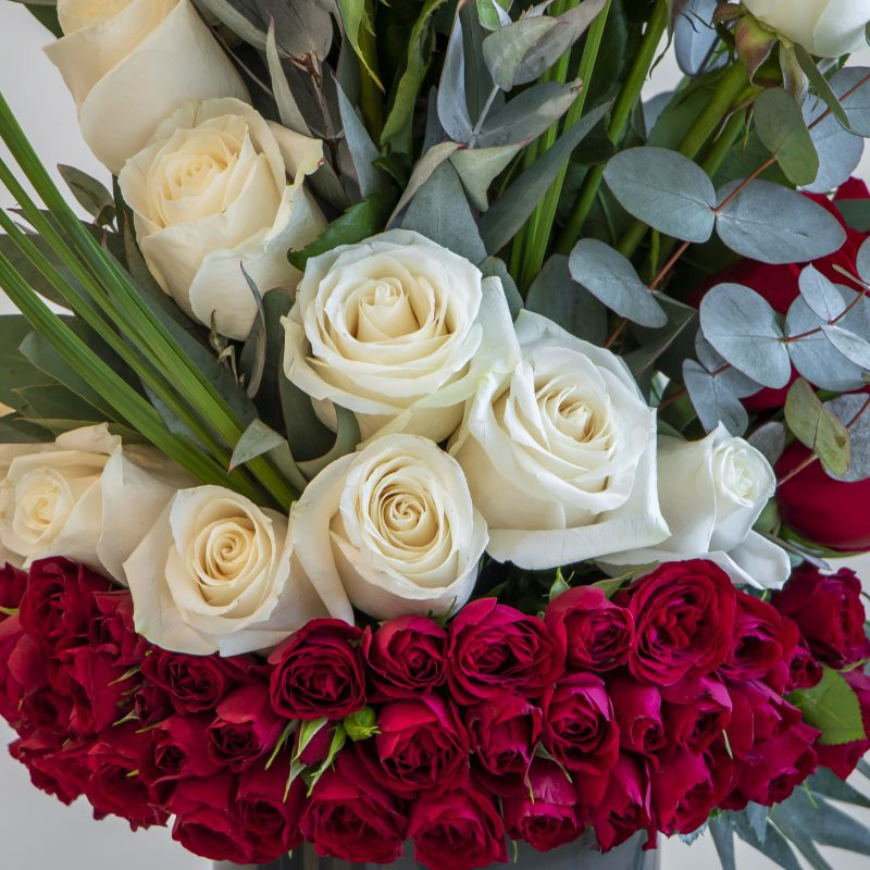 close up of white and red roses in a flower arrangement