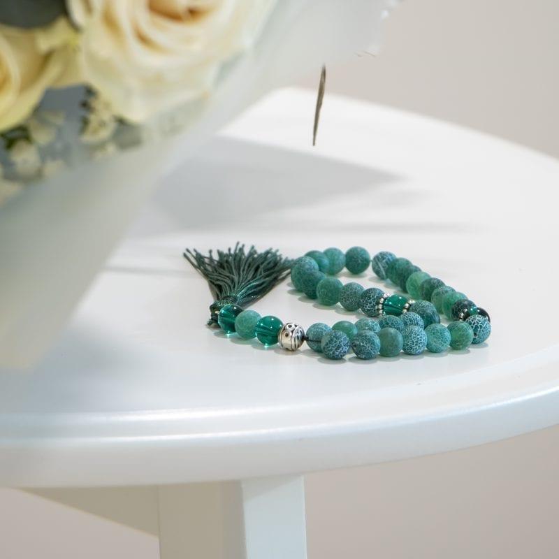 close up of prayer beads