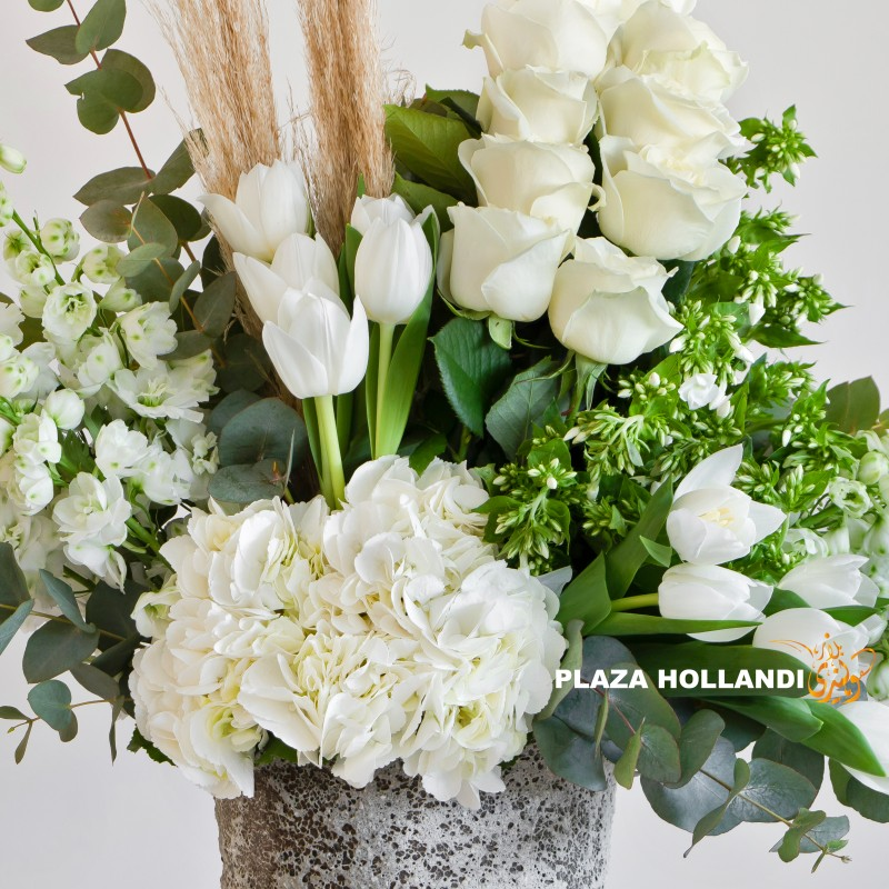 close up of hydrangea, tulip, rose and hydrangea