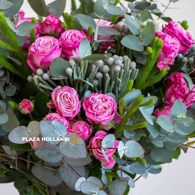 Close up of pink spray rose bouquet