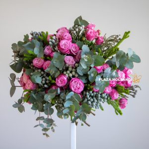 Pink spray rose bouquet with greenery