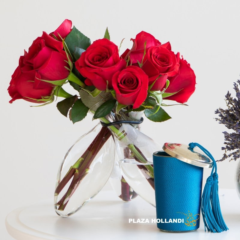 red roses and candle