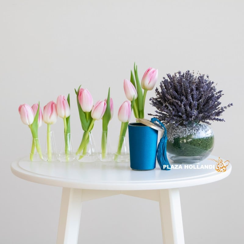 Tulips, lavender and a candle