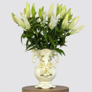 lilys in a ceramic vase
