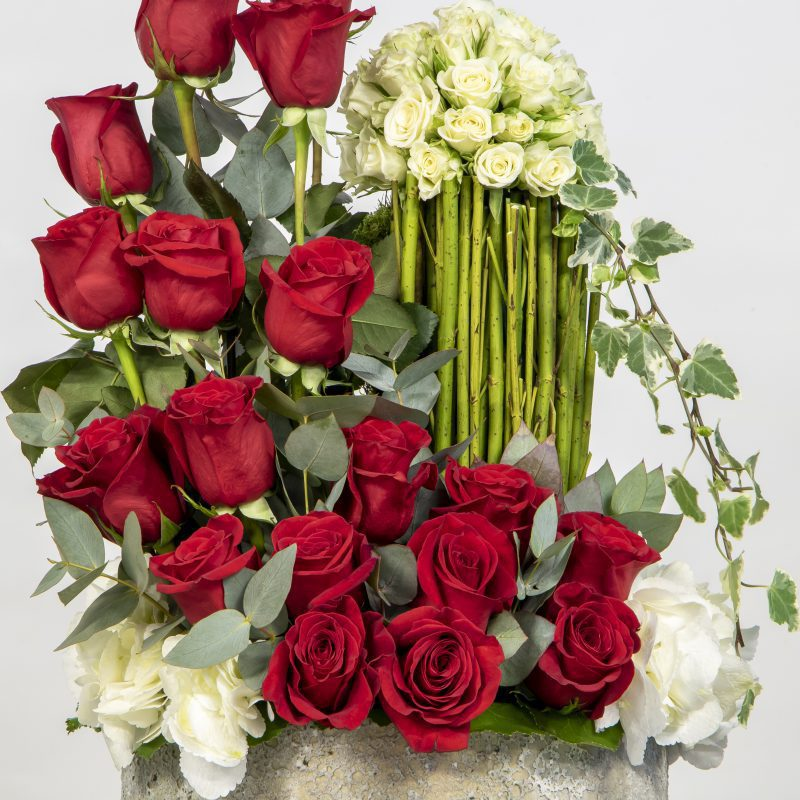 close us of red and white flower arrangement
