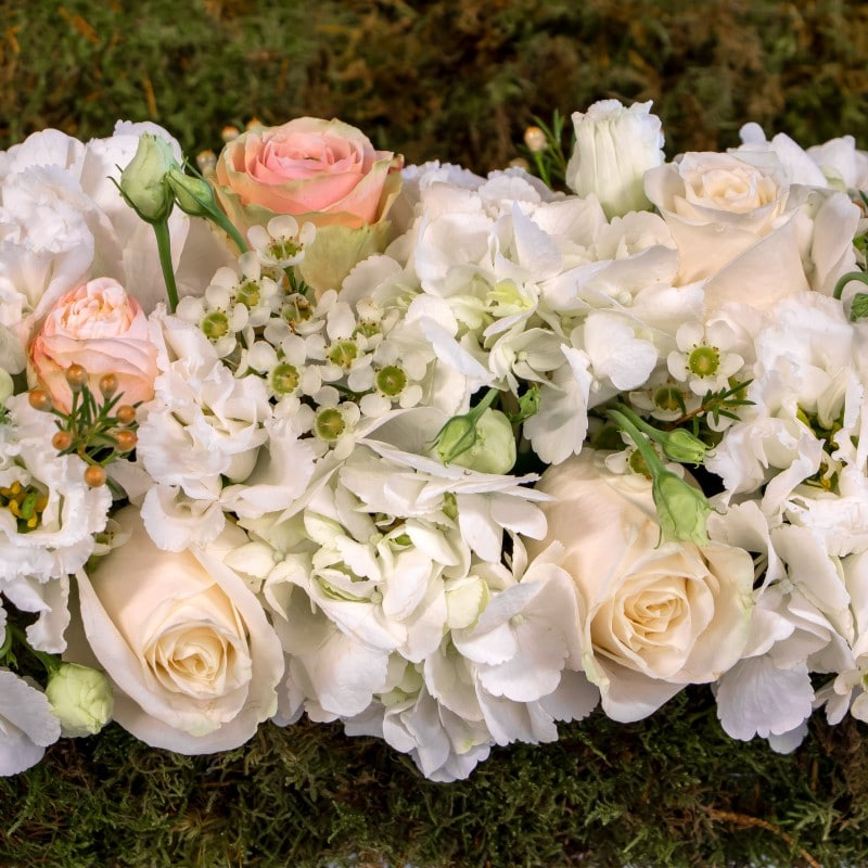 close up of hydrangea, roses and wax flower