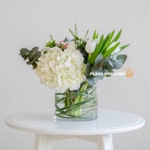 Plaza Hollandi white hydrangea arrangement