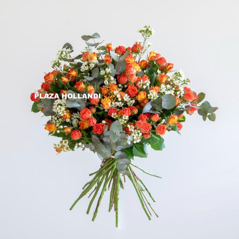 Plaza Hollandi orange spray rose bouquet