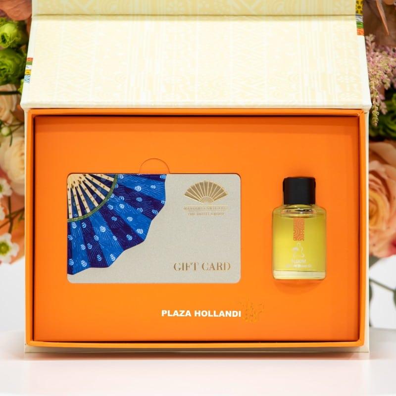 Mandarin spa gift card and oil closeup