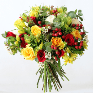 Mixed red and yellow rose bouquet