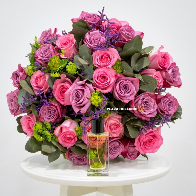 pink rose bouquet with passionate purple perfume