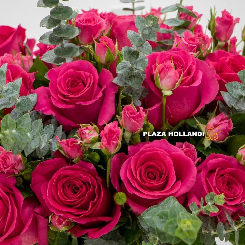 pink roses flower arrangement close up
