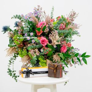 flower bouquet with chocolate boxes