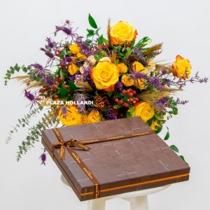 flower bouquet with chocolate box