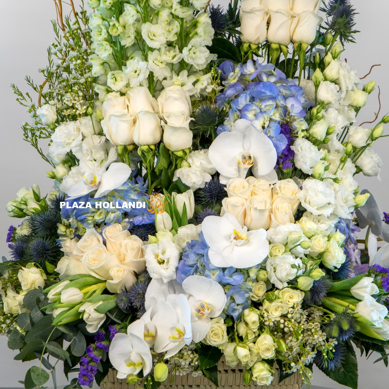blue, white and green flower arrangement